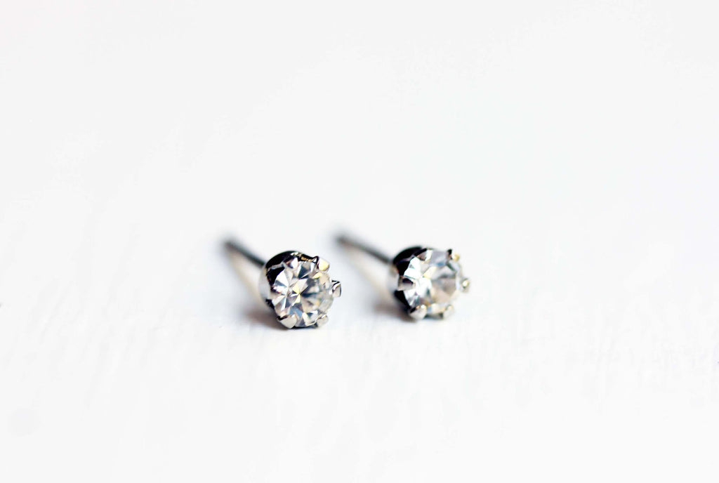 Tiny crystal dot silver studs from Diament Jewelry, a gift shop in Washington, DC.