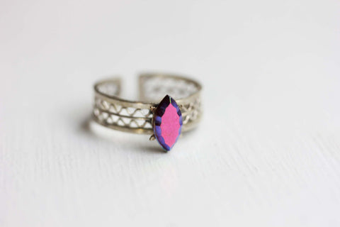 Silver and Purple Mirror Woven Ring