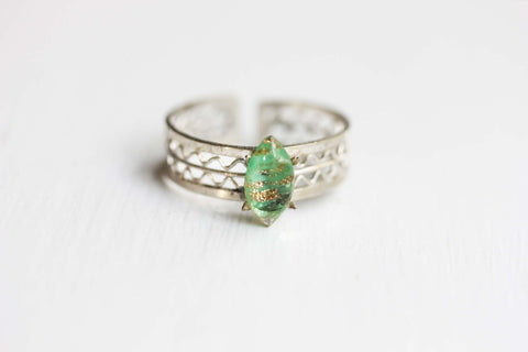 Silver and Green Shimmer Woven Ring