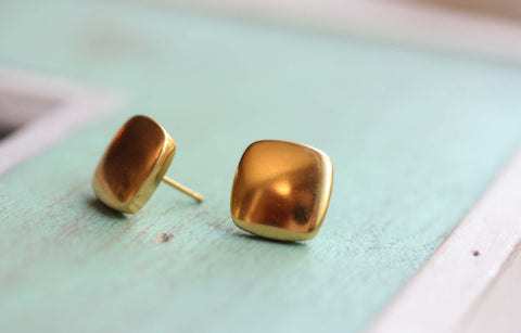 Square Puffy Studs - Gold