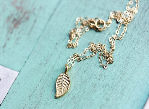 Tiny Gold Leaf Necklace