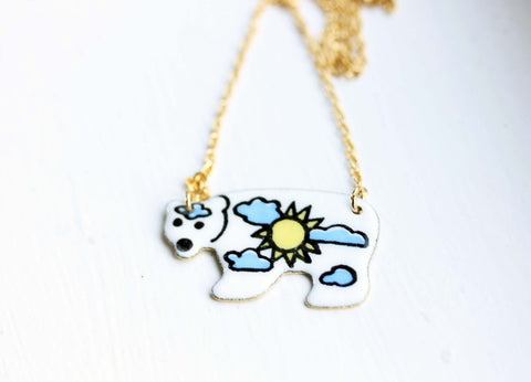 Enamel Polar Bear Necklace