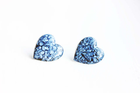 Denim Heart Studs