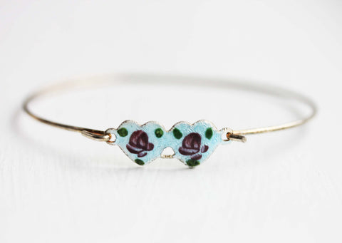 Double Heart Bracelet - Blue