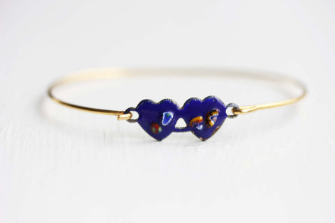 Double Heart Bracelet - Navy