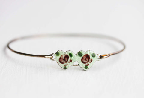 Double Heart Bracelet - Green and Pink