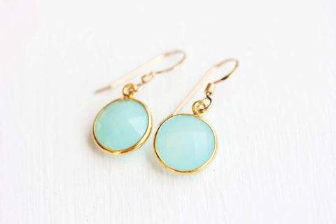 Gold Gem Earrings - Aquamarine