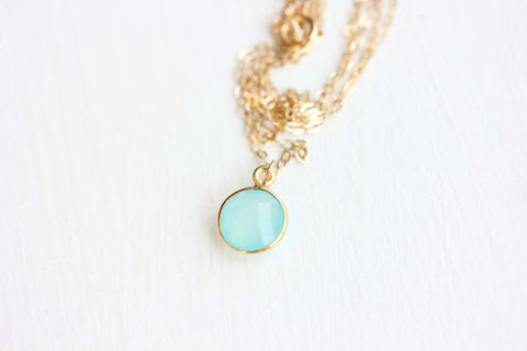 Tiny Gemstone Dot Necklace - You Choose the Color