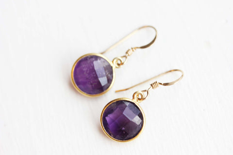 Gold Gem Earrings - Amethyst