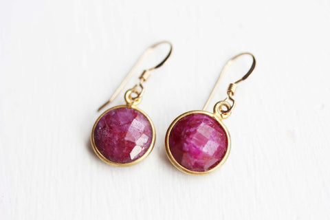 Gold Gem Earrings - Ruby