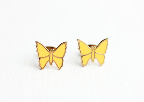 Yellow Butterfly Studs