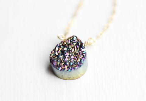 Rainbow Drusy Quartz Necklace