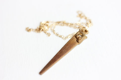 Gold Saw Necklace