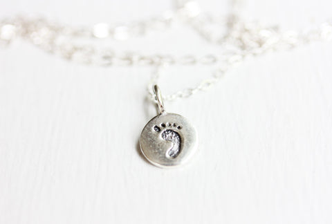 Tiny Silver Baby Foot Necklace
