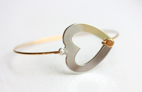 Silver and Gold Heart Hook Bracelet