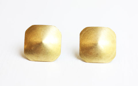 Brass Dome Square Studs