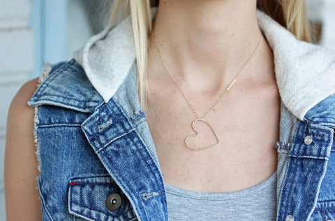 Gold Fill Cutout Heart Necklace