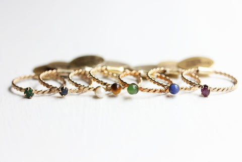 Dainty Gemstone Band Rings