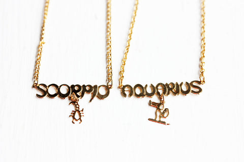 Zodiac Charm Necklace -- All Signs Available