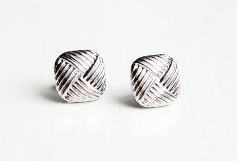 Silver Criss Cross Square Studs