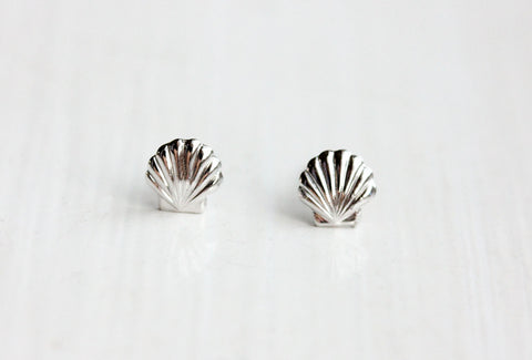 Tiny Silver Shell Studs