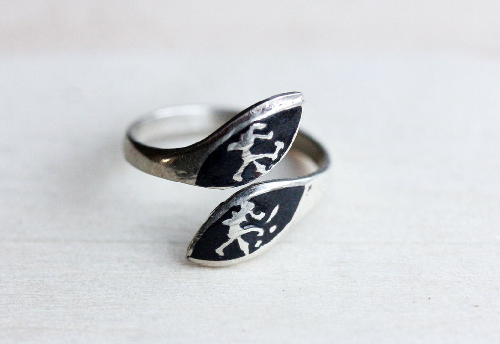 Silver and black Siam ring from Diament Jewelry, a gift shop in Washington, DC.