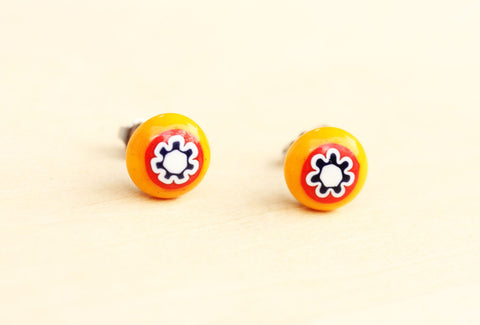 Vintage Orange Glass Flower Studs