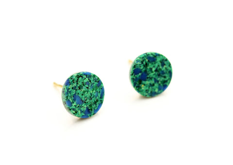 Gren and Blue Dot Studs