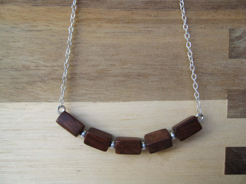 Wood Beaded Necklace - Silver