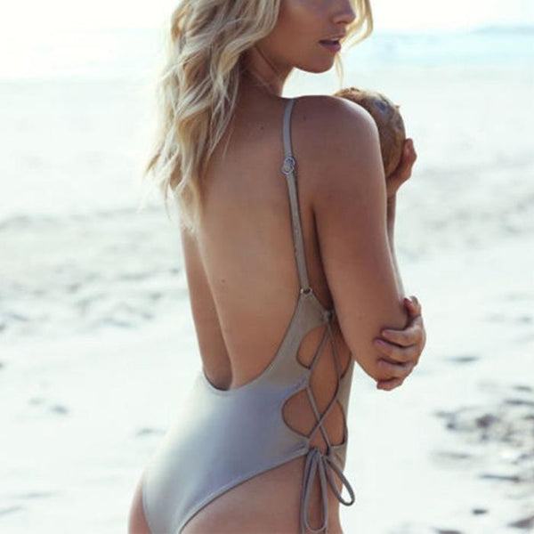 Sexy solid color bikini side braided one-piece swimsuit