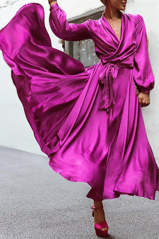 Elegant Purple V-Neck  Party Maxi Dresses