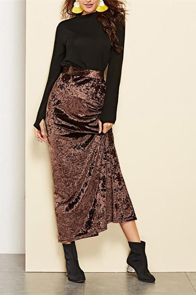Elegant Chic Suede Slim High Waist Long Skirt