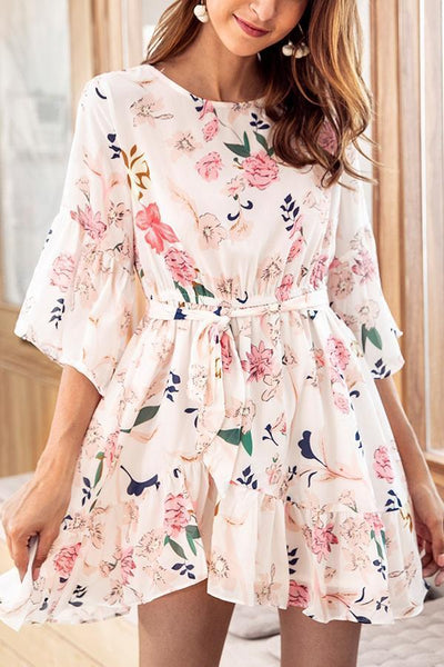 Calladream Women Floral Printing Half Sleeve Chiffon Dress