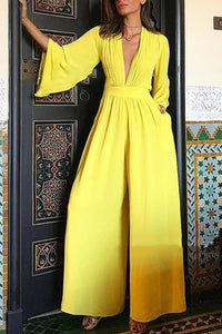 Sexy V Neck Long Sleeve Pure Color Jumpsuit