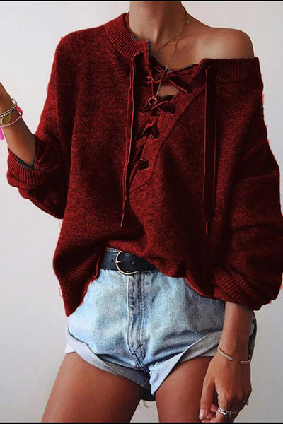 Solid Color Versatile Lace Hollow Long Sleeve Loose Shirts