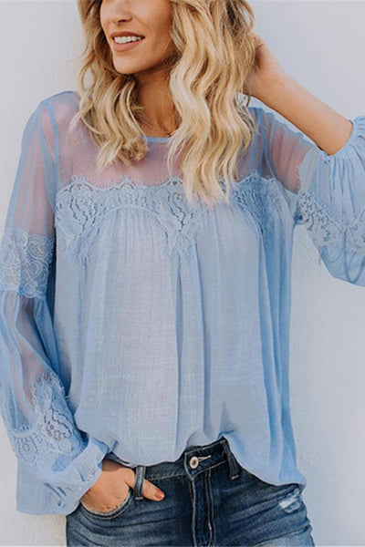 Pure Color Perspective Lace Lantern Sleeve Top