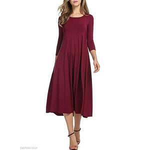 Casual Solid Round Neck Long Skater Dress