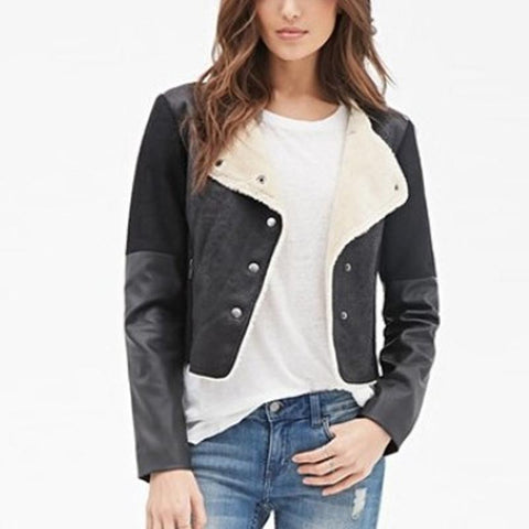 Fold Over Collar  Patchwork Jackets