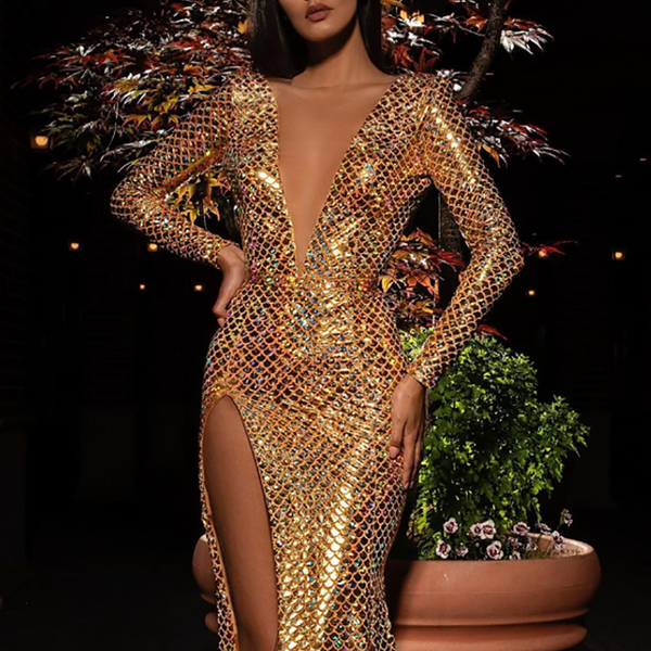 Sexy Python Pattern Deep V Slit Cocktail Evening Dress