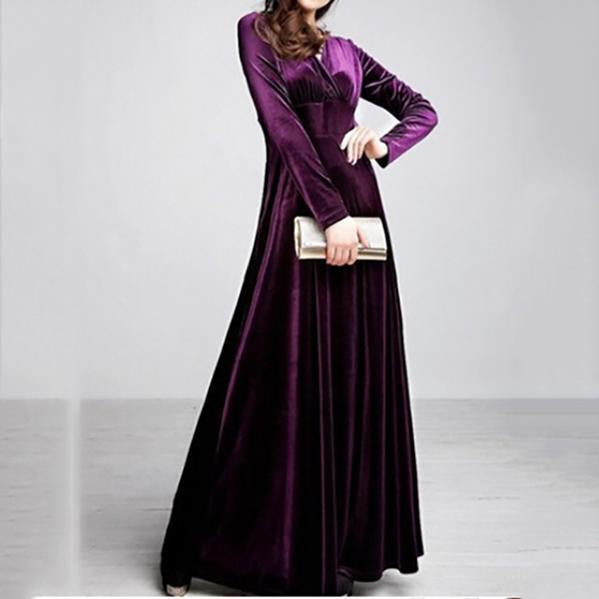 Sexy Deep V-Neck Velvet Long Sleeve Maxi Dress