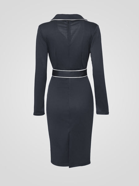 OL Lapel Charming Double Breasted Bodycon Dress