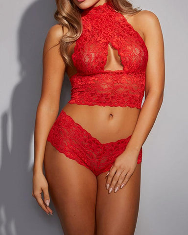 Sheer Lace Crisscross Halter Lingerie Sets