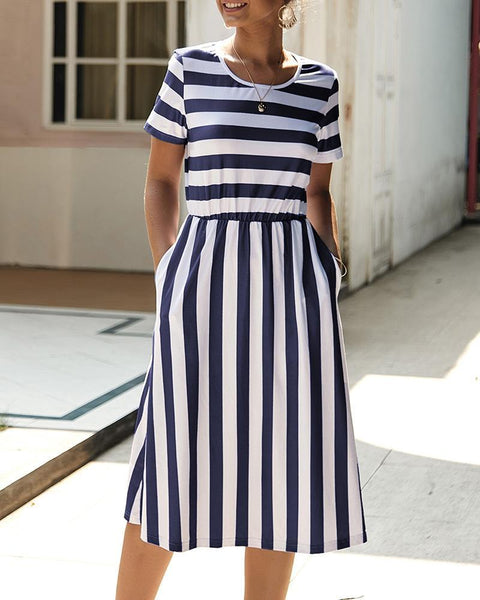 Striped Short Sleeve Round Neck Dress