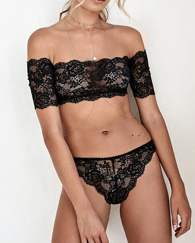Alluring Off Shoulder Lace Lingerie Sets