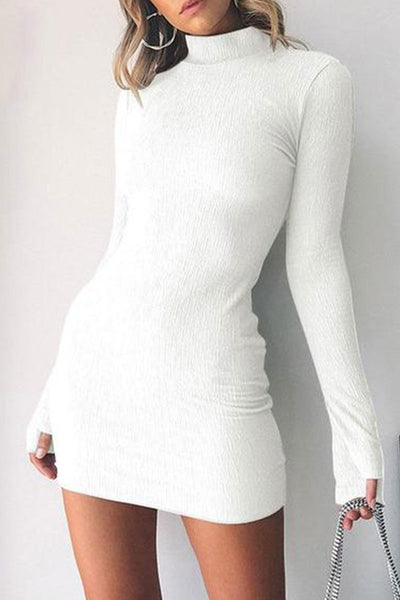 Long Sleeve High Collar Slim Bodycon Dress