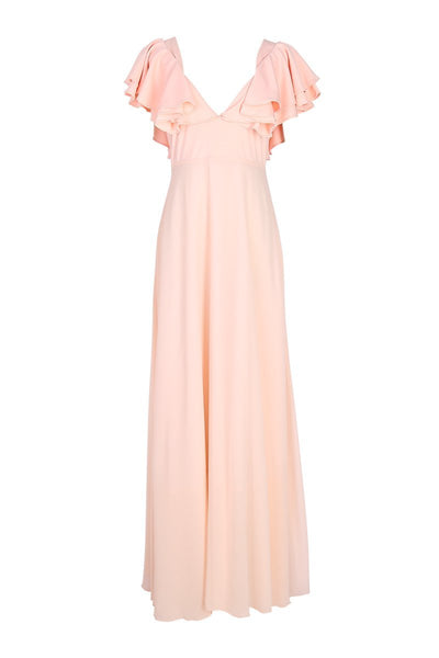 Sexy Pink Short Sleeves V Neck Maxi Dress