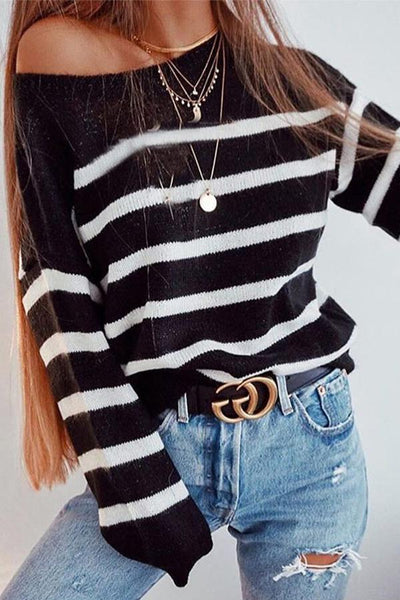 Round Neck Stripes Long Sleeve Knitting Sweaters