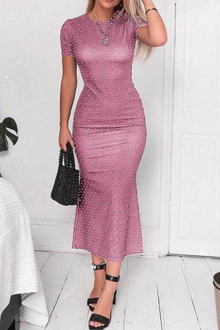 Fishtail Short Sleeve Hip Bodycon Dress