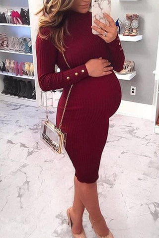 Maternity Bodycon Long Sleeve Sweater Dress