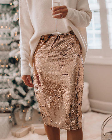 Slit Design Glittering Sequin Skirt